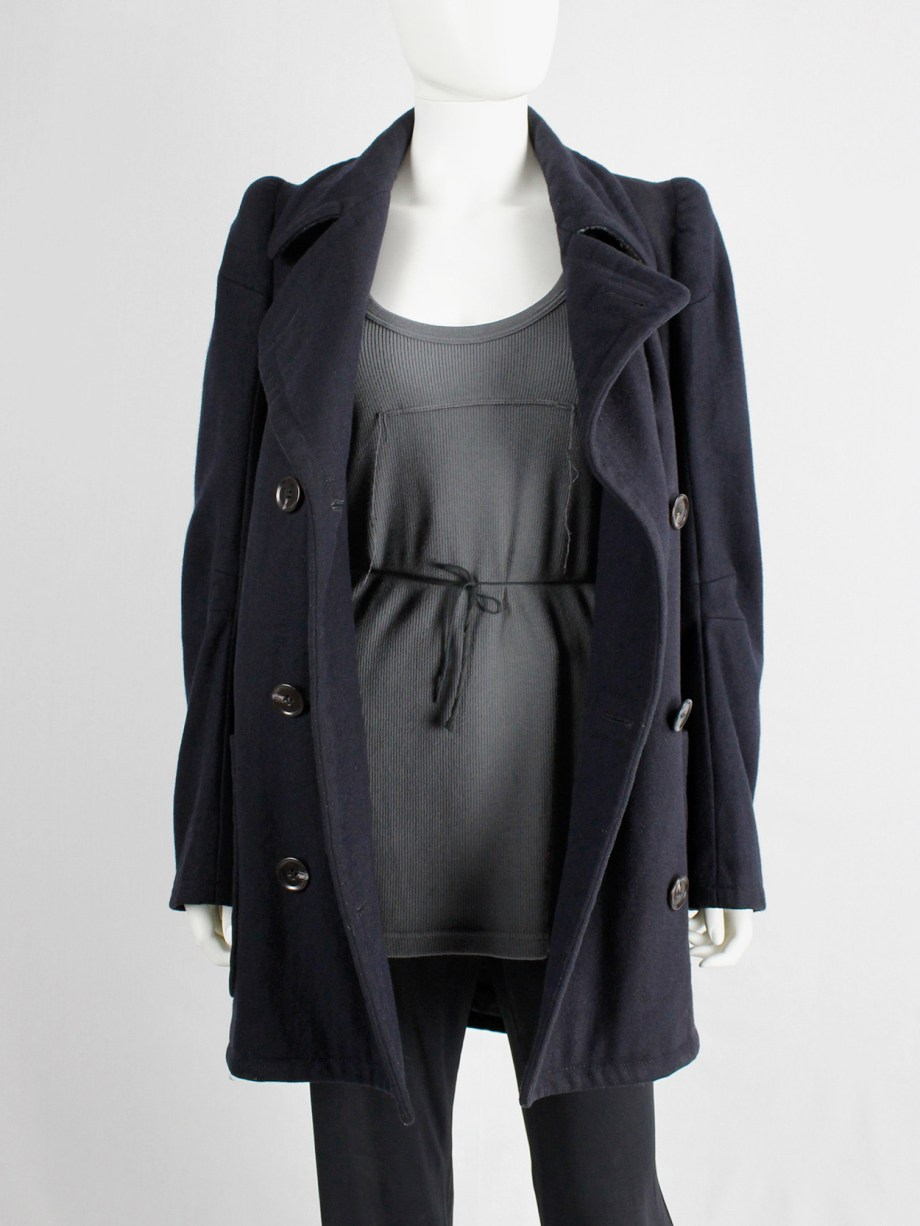 vintage Maison Martin Margiela navy oversized caban with cigarette shoulders fall 1990 (5)