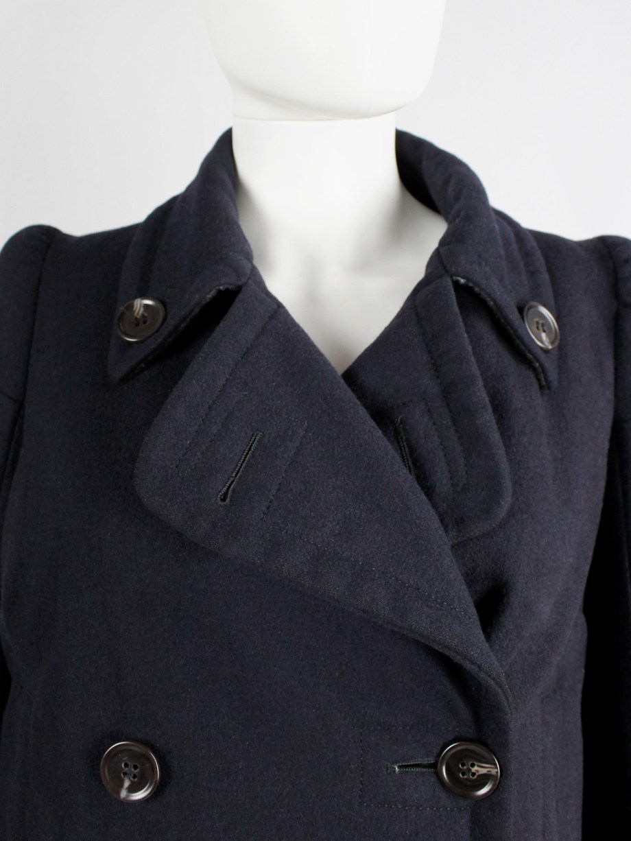 vintage Maison Martin Margiela navy oversized caban with cigarette shoulders fall 1990 (8)