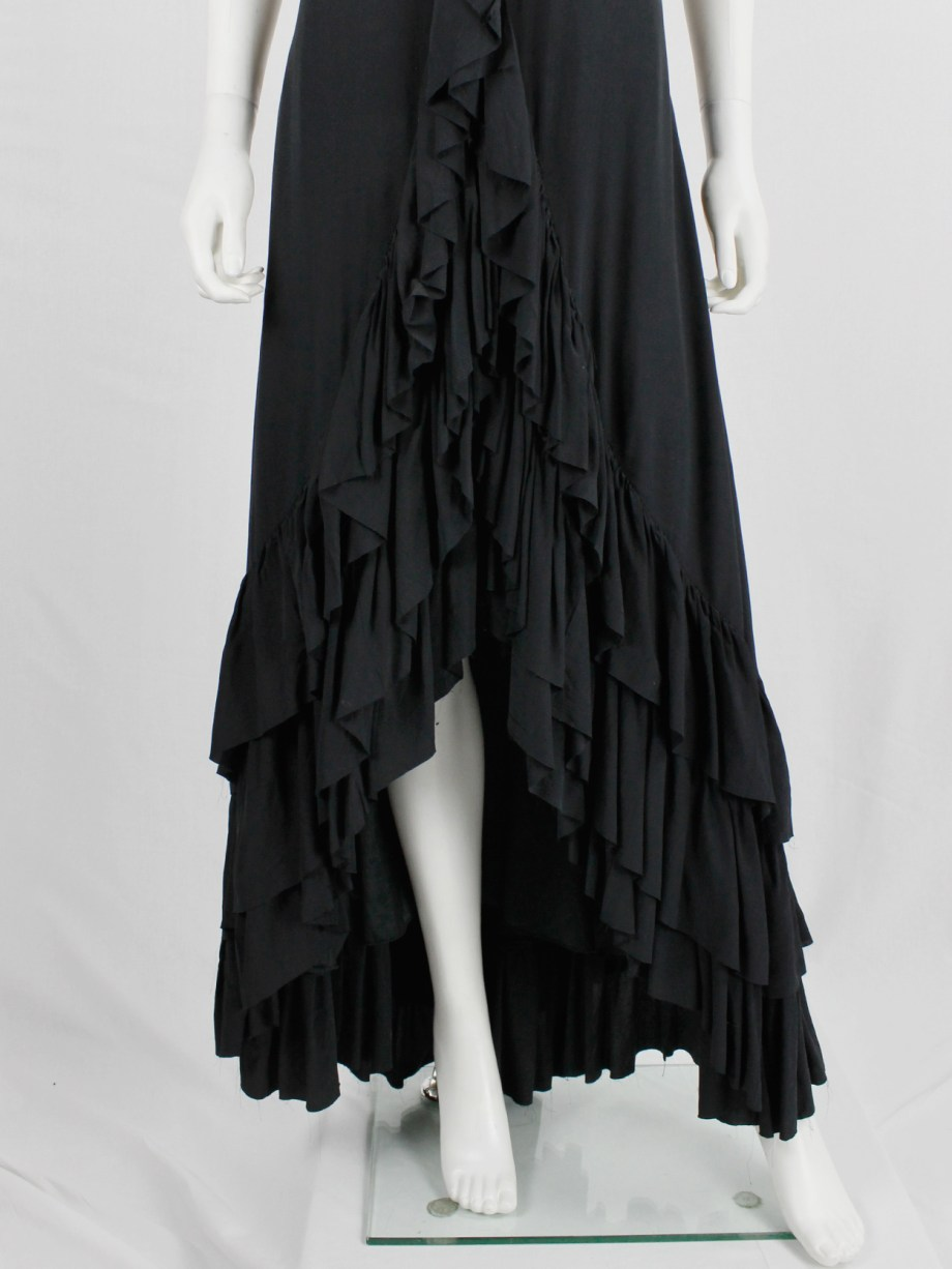 A.F. Vandevorst black maxi dress with front ruffle and heavily tiered skirt — spring 2004