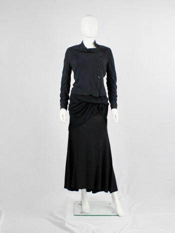 Ann Demeulemeester black asymmetric cardigan with buttons and tucked sleeves