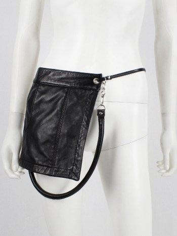 Lieve Van Gorp black leather fanny pack or shoulder bag with trouser pocket — 1990's