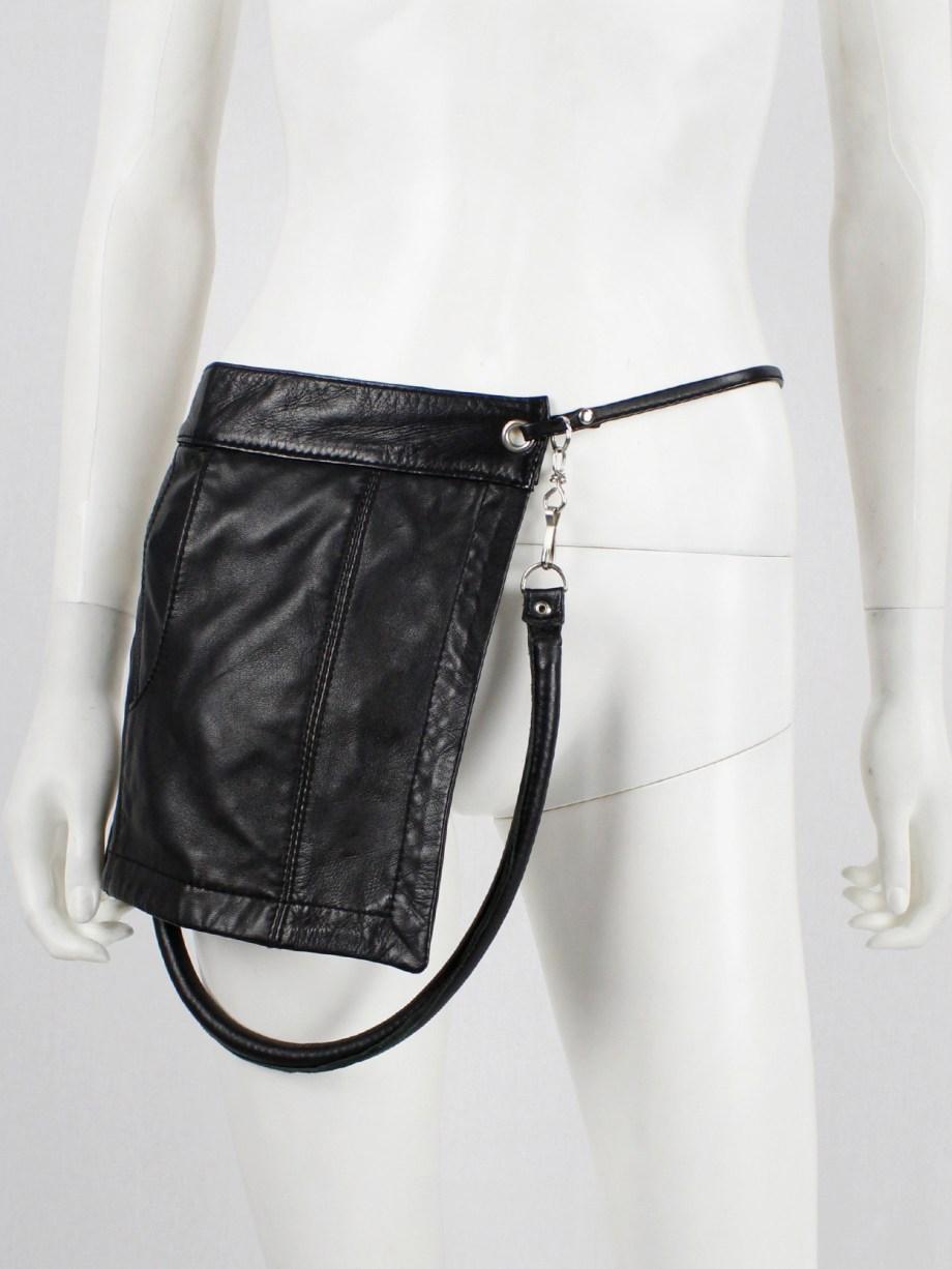 Lieve Van Gorp black leather fanny pack or shoulder bag with trouser pocket — 1990's