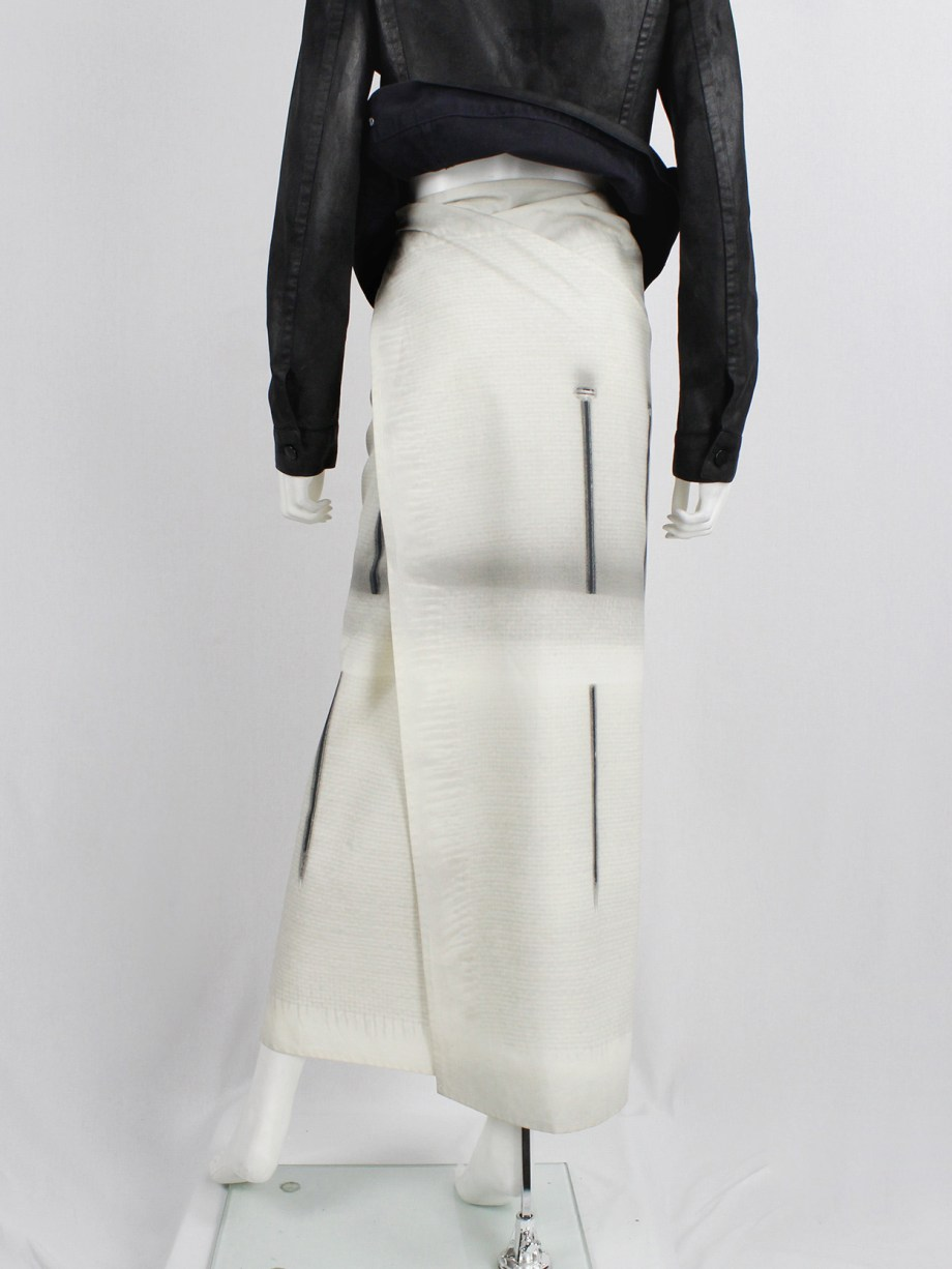 Maison Martin Margiela 6 white maxi wrap skirt with a trompe-l'oeil print of nails — 2003/2004
