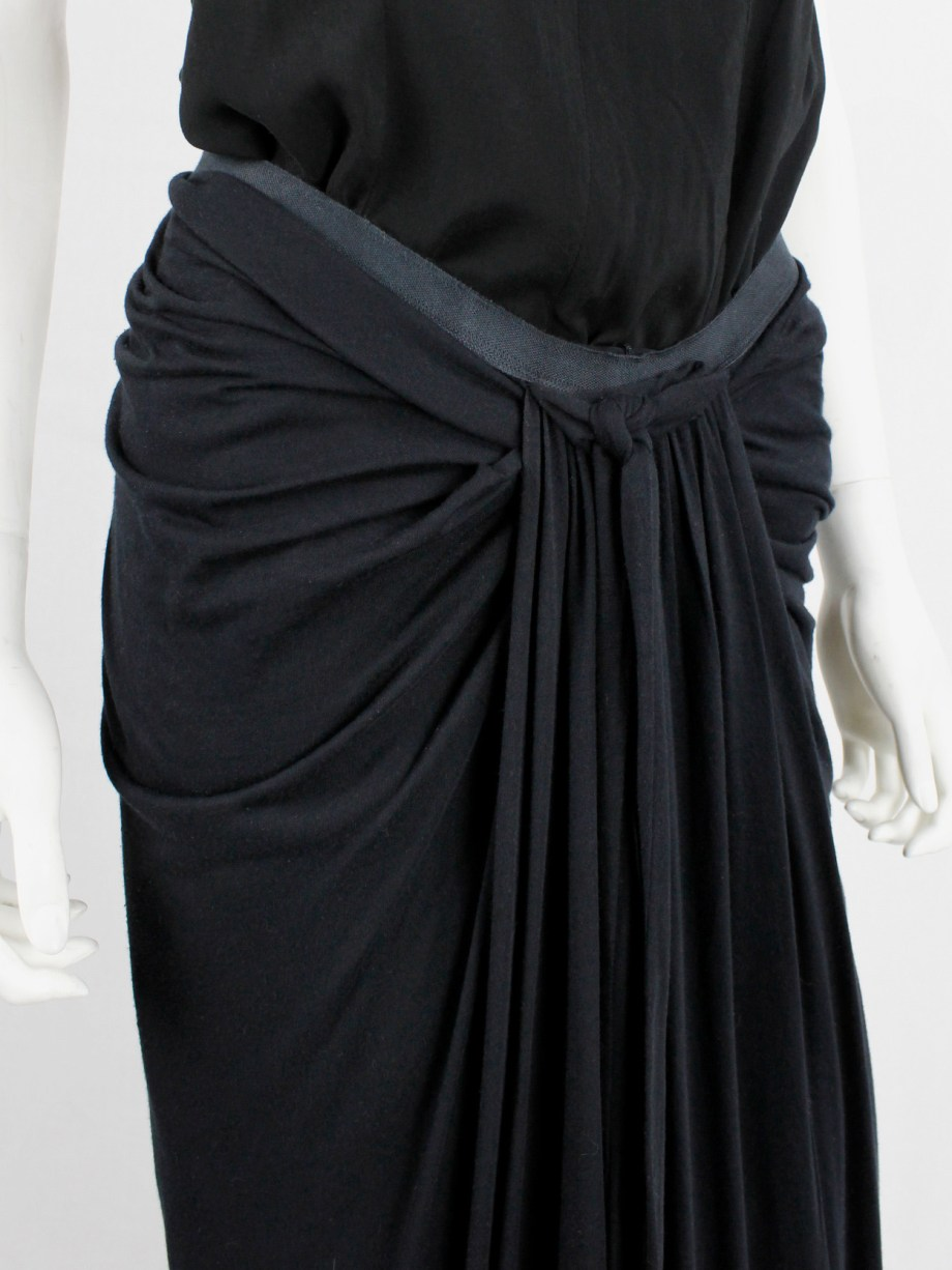 Rick Owens lilies black maxi skirt with fine pleated draping and front ties