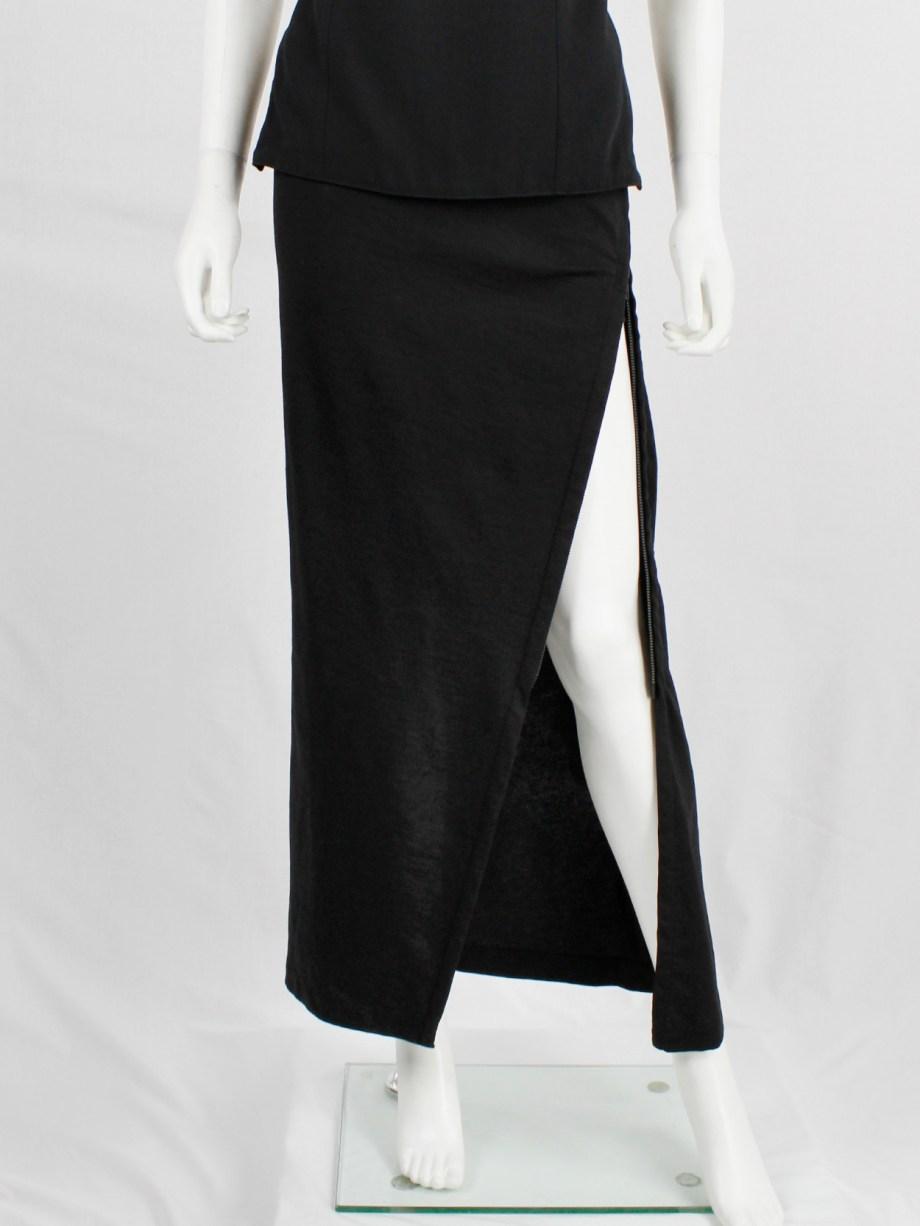 Ann Demeulemeester black maxi skirt with diagonal zipper and adjustable slit — fall 2012