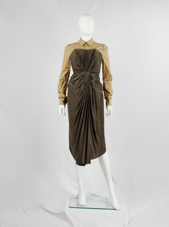 A.F. Vandevorst khaki green dress with twisted accordeon pleats — fall 2011