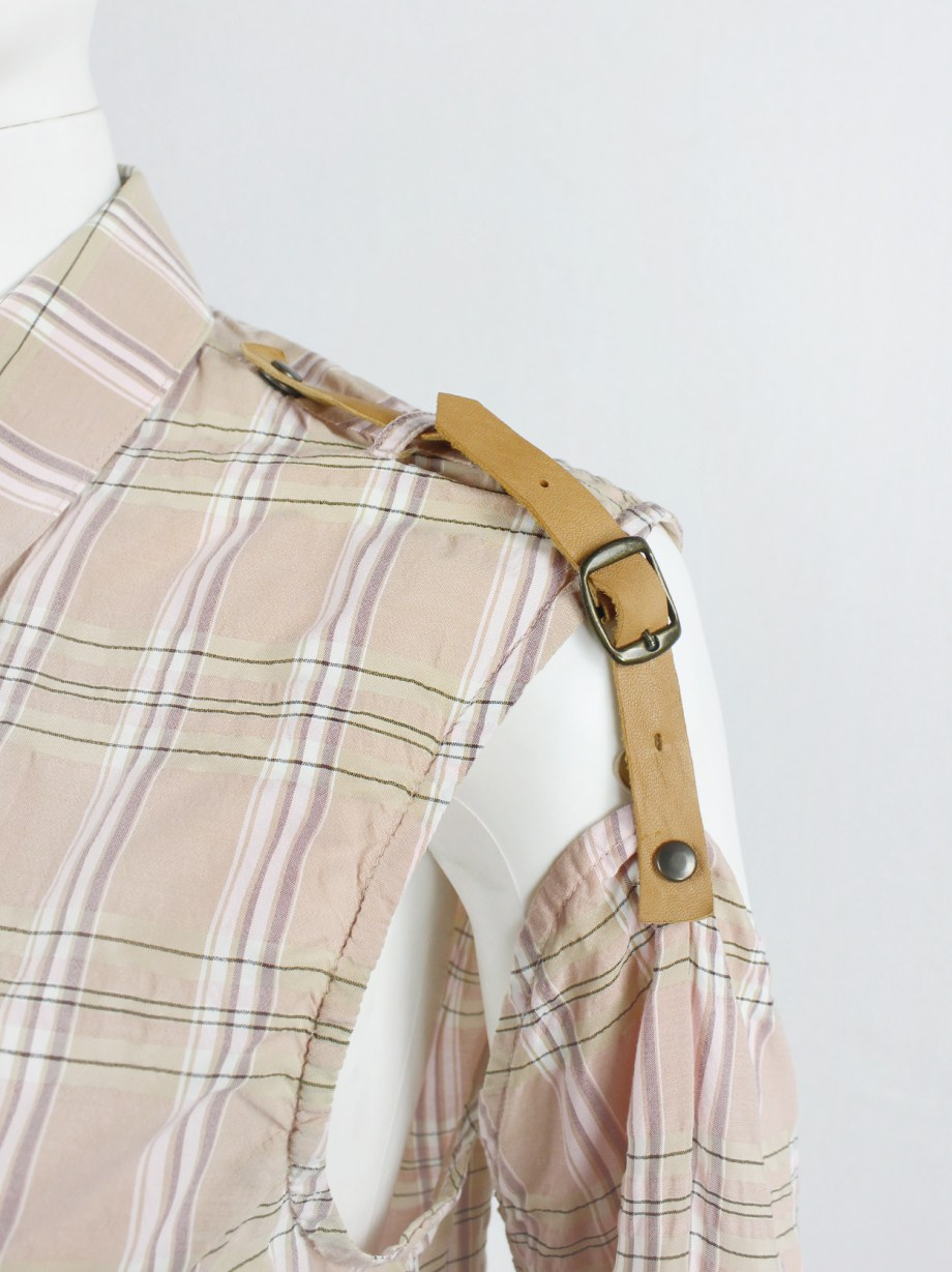 A.F. Vandevorst pink tartan shirt with separate sleeves attached by leather straps — spring 2001