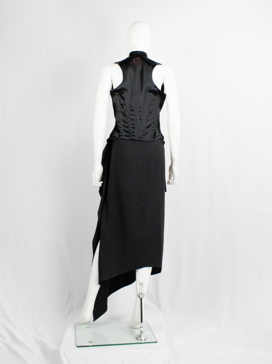 Ann Demeulemeester black asymmetric draped skirt with belted waist — spring 2004