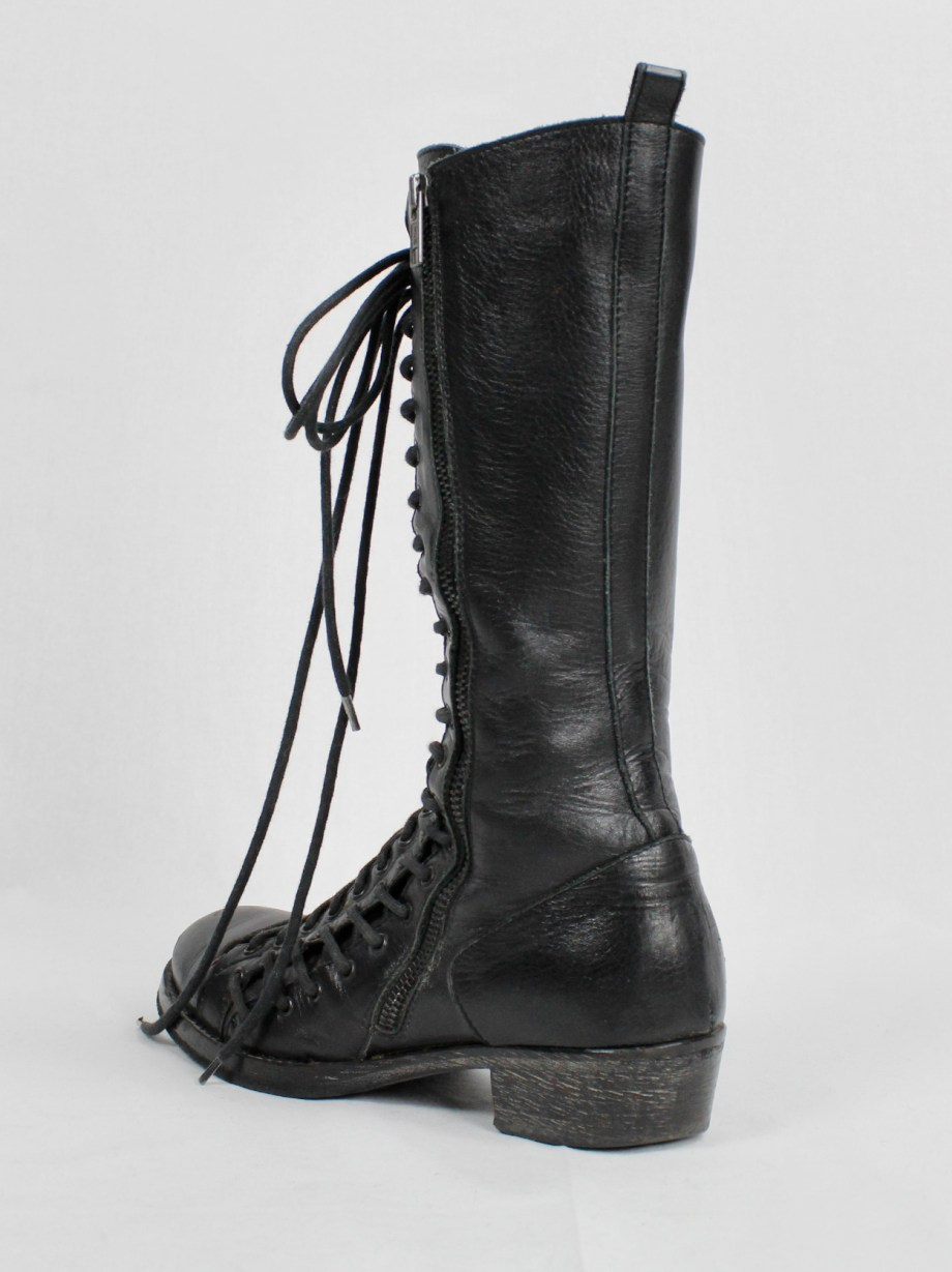 Ann Demeulemeester black tall triple lace boots with low heel (37.5) — fall 2008