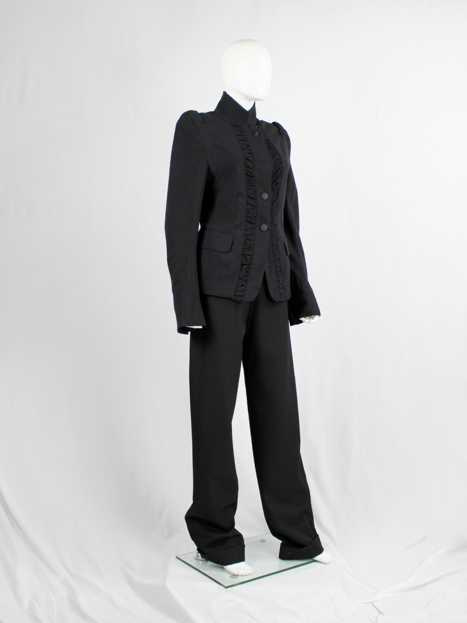 Ann Demeulemeester black victorian blazer with front ruching and woven buttons