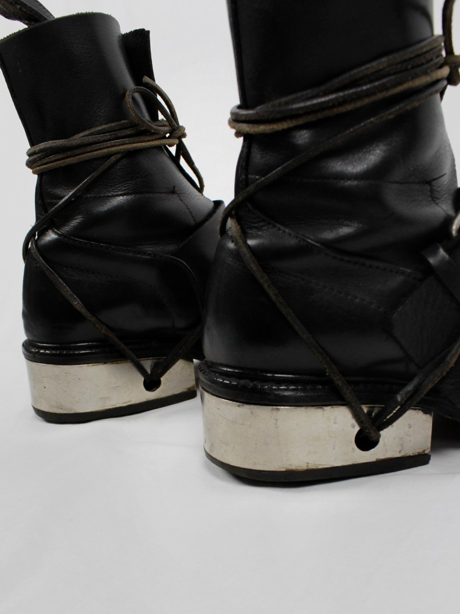 Dirk Bikkembergs black tall boots with belt and laces through the metal heel (38) — late 90's