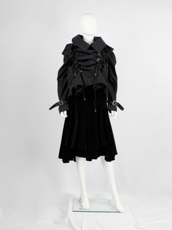 Junya Watanabe black scrunched drawstring jacket with oversized collar — fall 2005