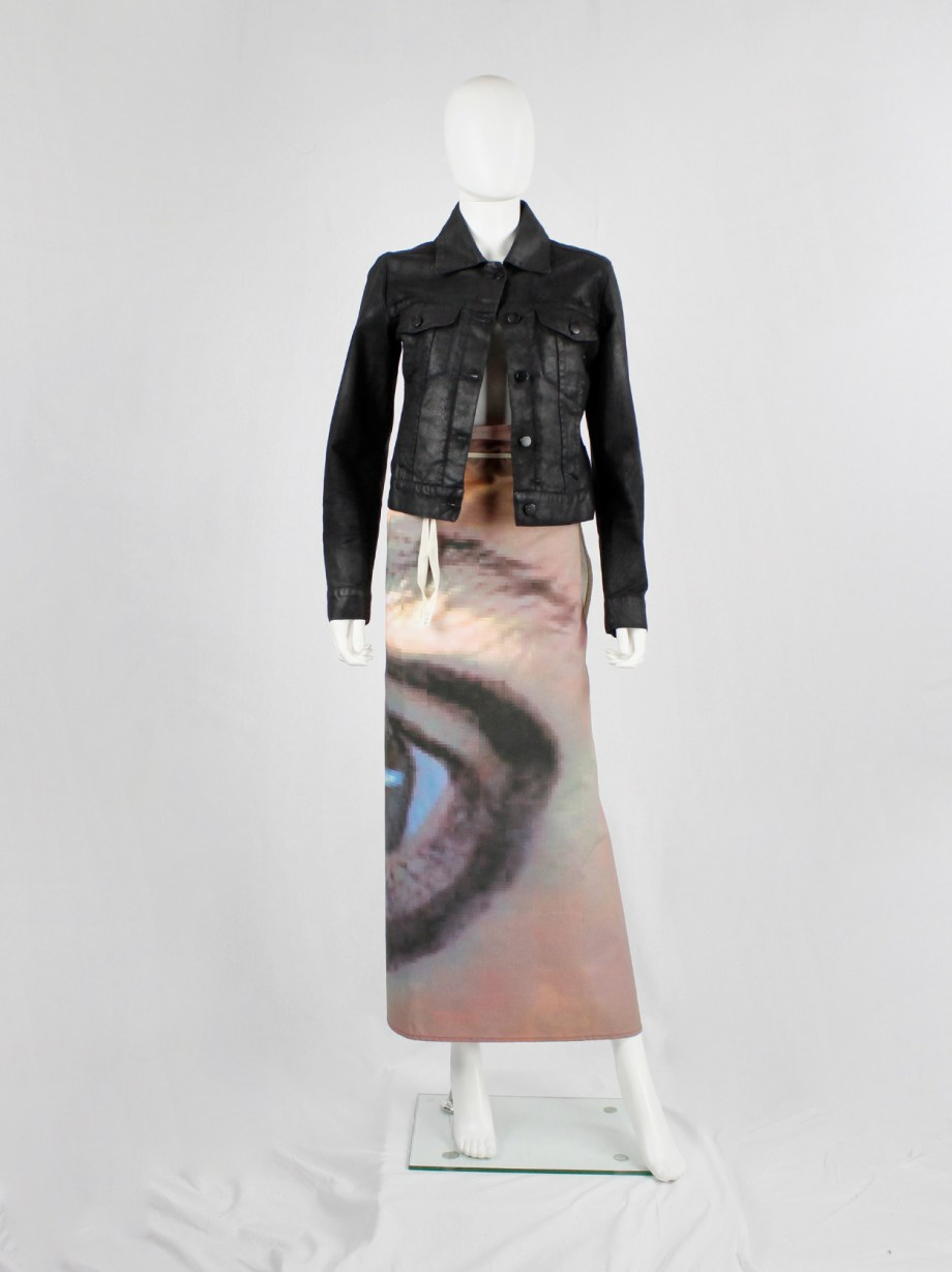 Maison Martin Margiela 6 maxi wrap skirt with a pixelated print of an eye 2003 (5)