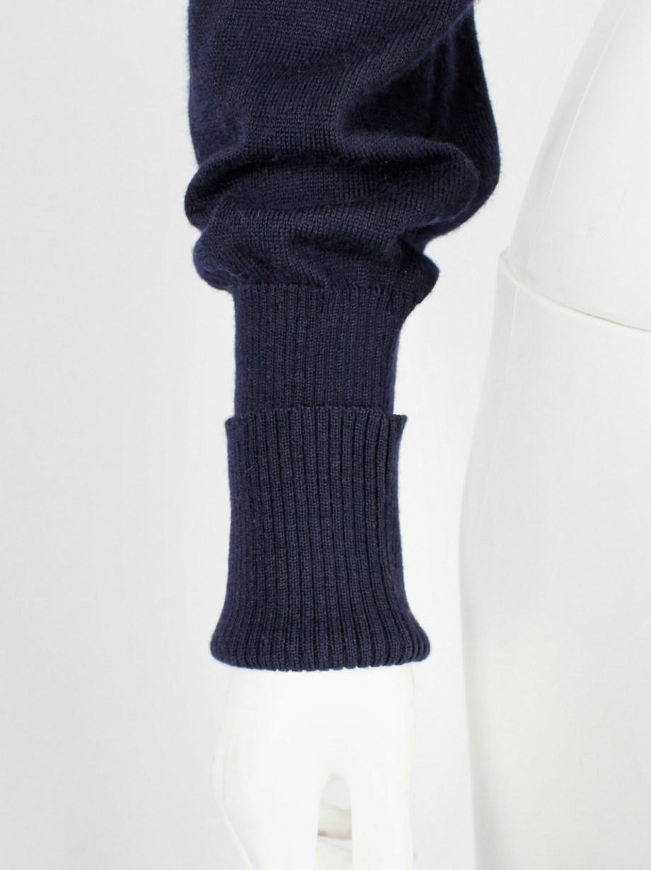 Maison Martin Margiela blue bolero with cuffed sleeve and sleeve with loose thread — fall 2004