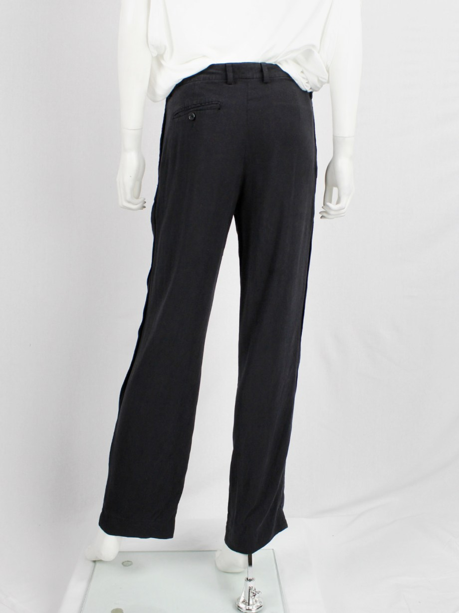 Maison Martin Margiela dark blue loose trousers with bronze staples — spring 2007