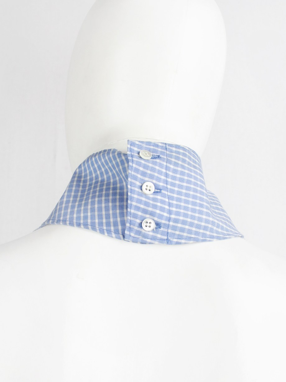 Maison Martin Margiela light blue gingham backless top with separate collar — spring 2000