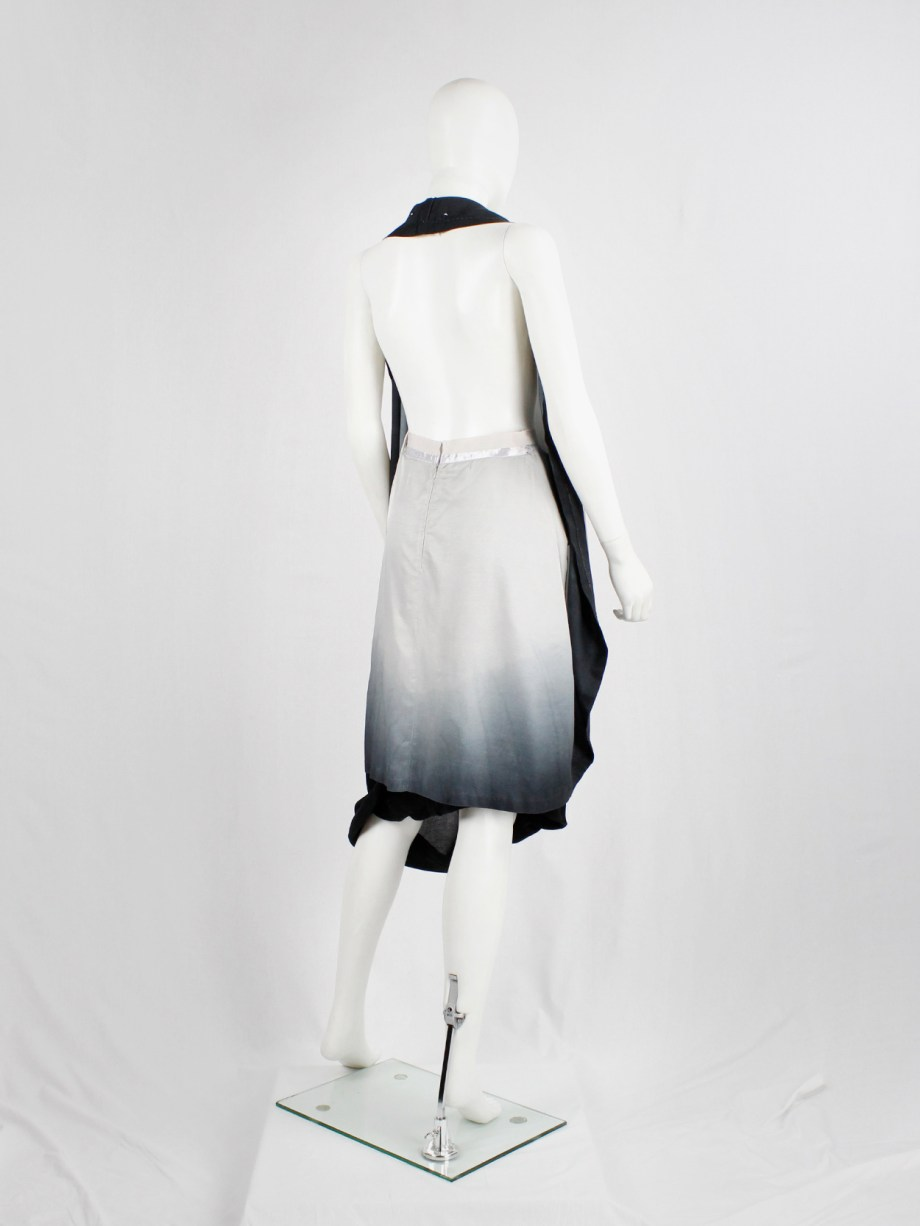 Maison Martin Margiela light pink to black ombre transformable dress — spring 2003