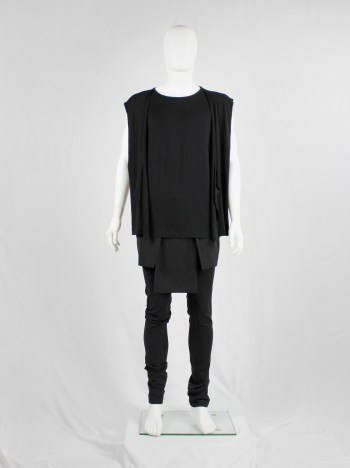 Rad by Rad Hourani black sleeveless top with attached geometric panels