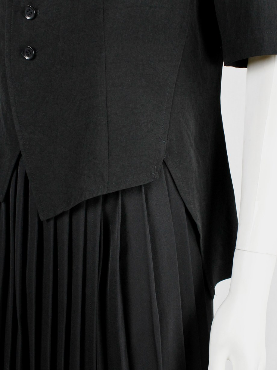 Y's Yohji Yamamoto black short sleeve jacket with longer train at the back