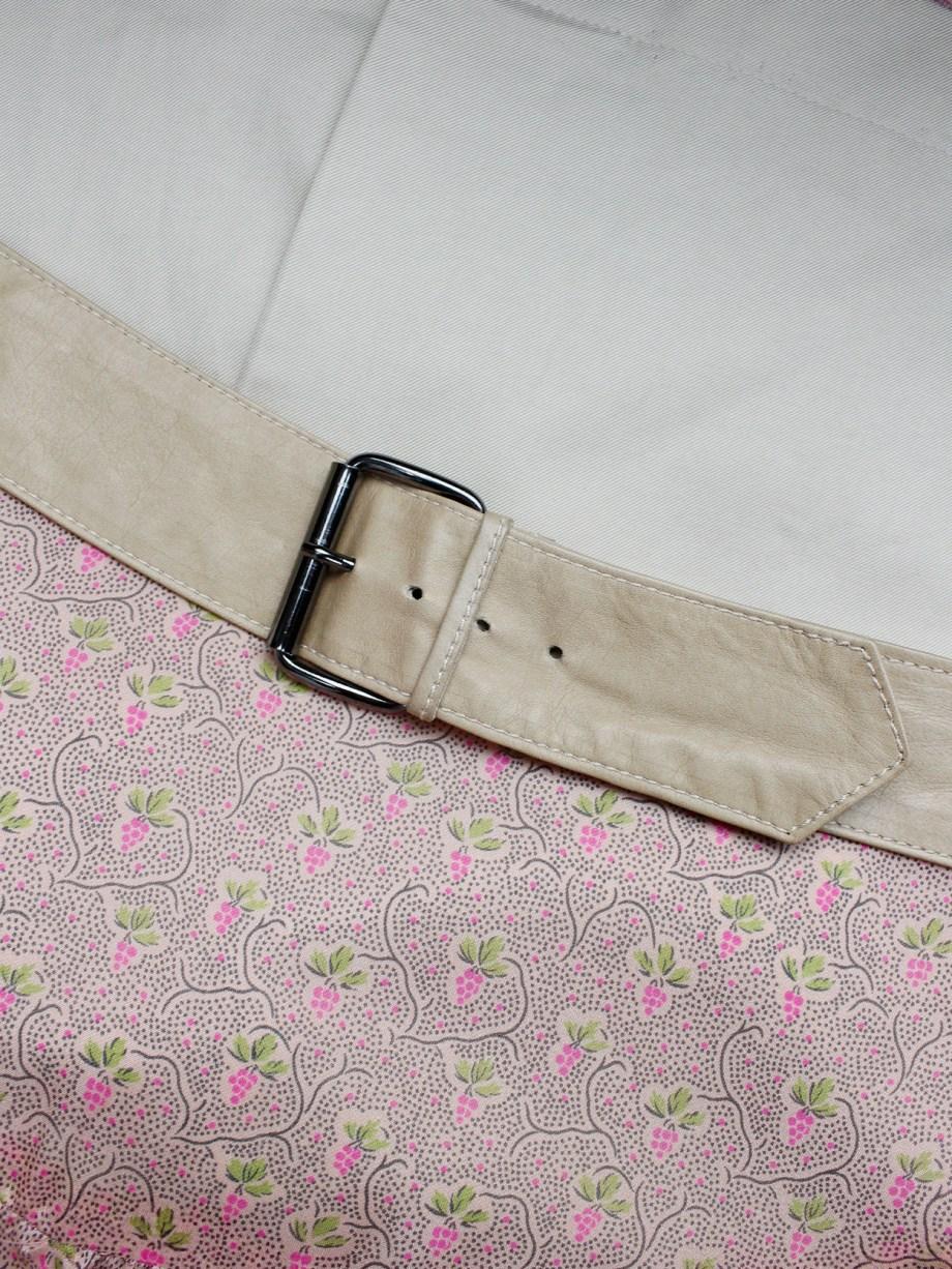A.F. Vandevorst pink printed skirt with beige back and camel leather belt — spring 2005