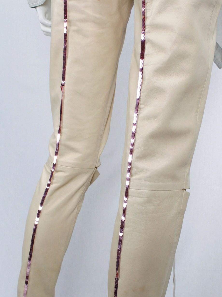 A.F. Vandevorst salmon leather runway leggings with sequins along the back — spring 2000