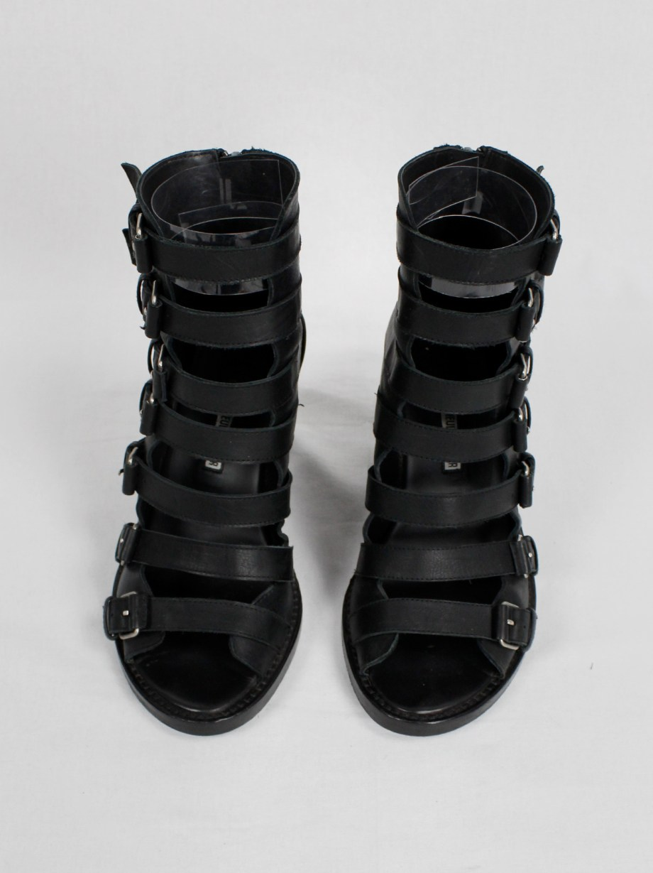Ann Demeulemeester Blanche black wedge sandals with buckle belts (39)
