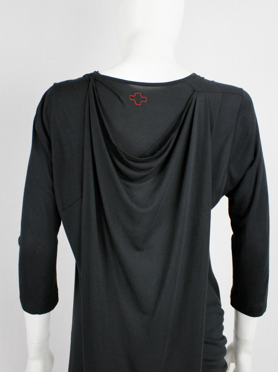 A.F. Vandevorst black midi dress with cape and gathered at the front in a twist
