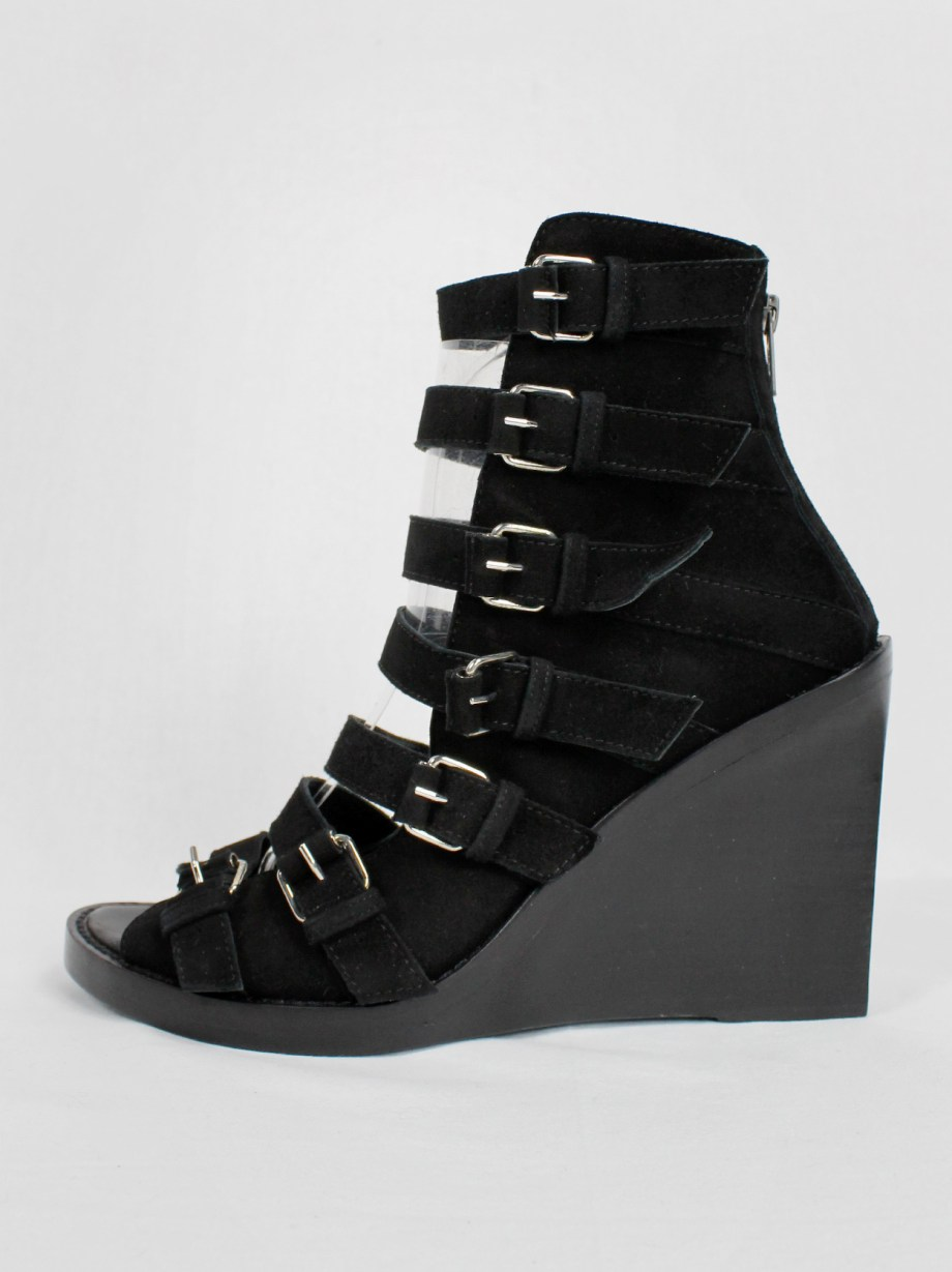 Ann Demeulemeester Blanche black suede wedge sandals with buckle belts (41)