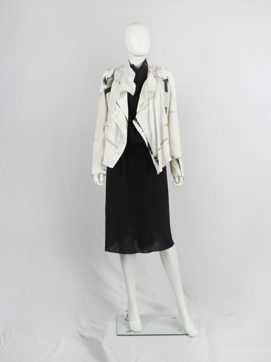 Ann Demeulemeester white buttoned fencing jacket with stitched panels — spring 2011