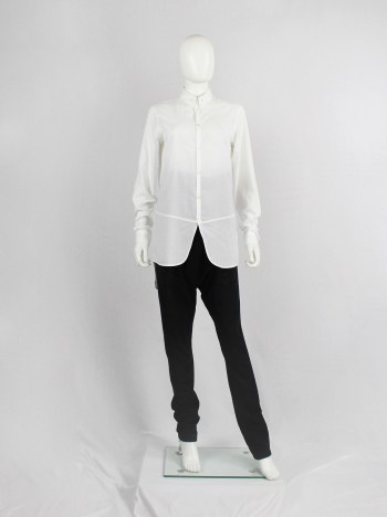 Ann Demeulemeester white shirt with curved hem panel and buttoned collar