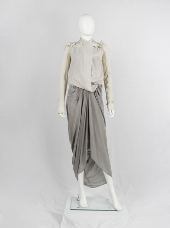 Rick Owens WISHBONE beige draped cardigan with dragon sleeves — spring 2007