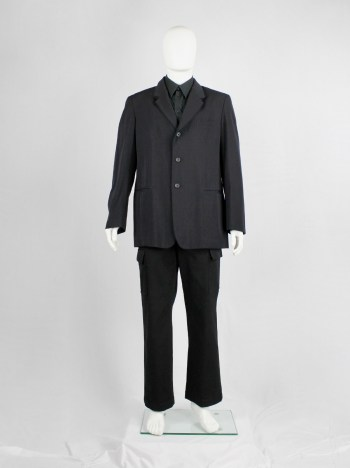 Yohji Yamamoto Pour Homme black classic blazer with double layered lapels