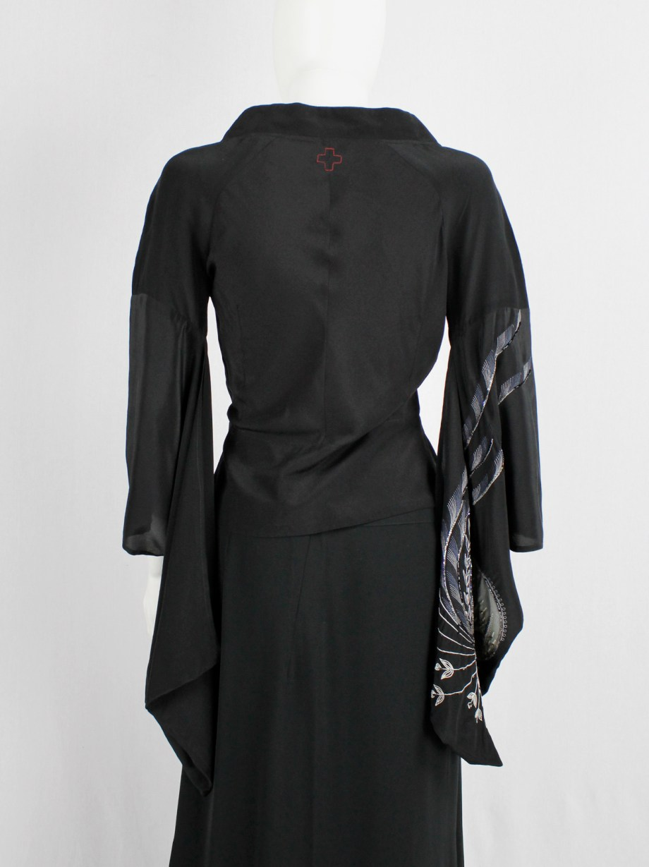 A.F. Vandevorst black kimono-inspired top with hand embroidery and beading — spring 2002