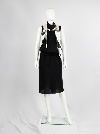 Ann Demeulemeester black and beige asymmetric waistcoat with detachable strap — spring 2011