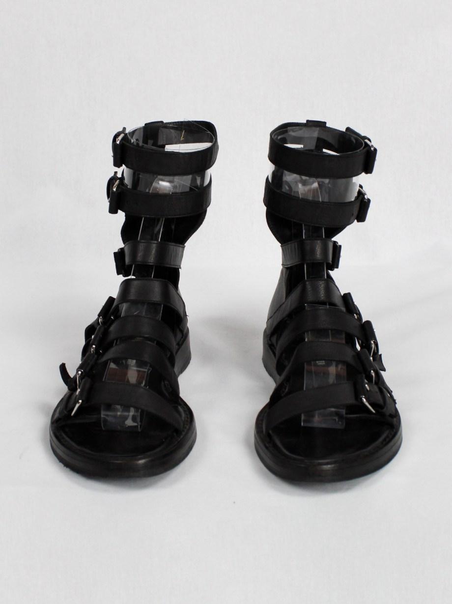 Ann Demeulemeester black flat gladiator sandals with belts (37) — spring 2010
