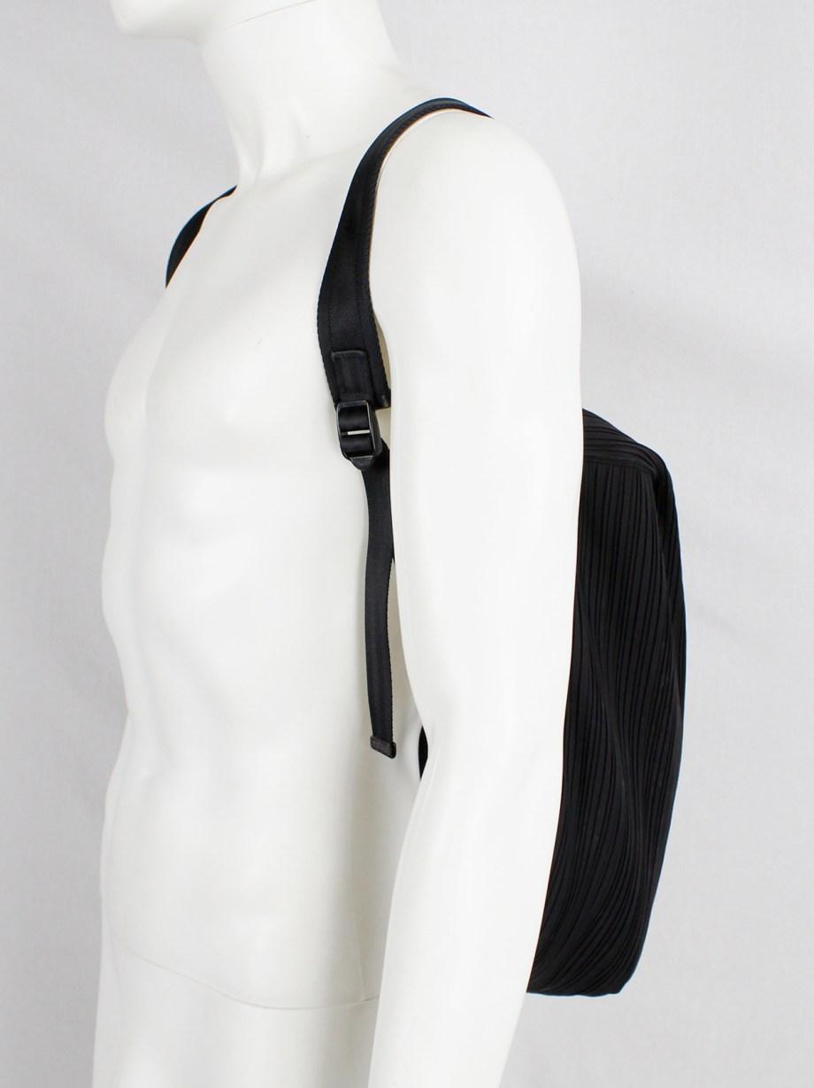 Issey Miyake Pleats Please dark eggplant backpack with fine pleats