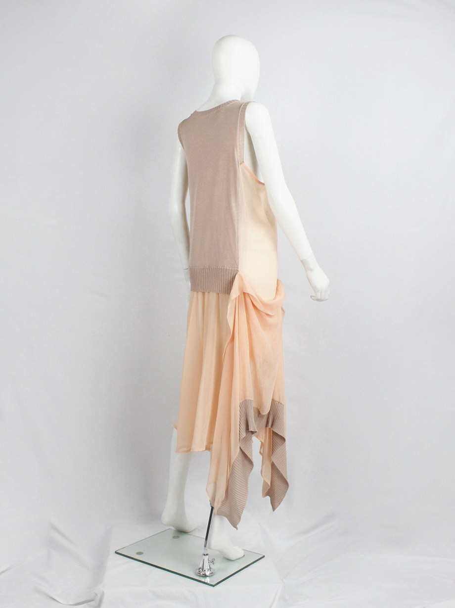 Limi Feu peach sheer dress with draped layers under a deconstructed wool vest