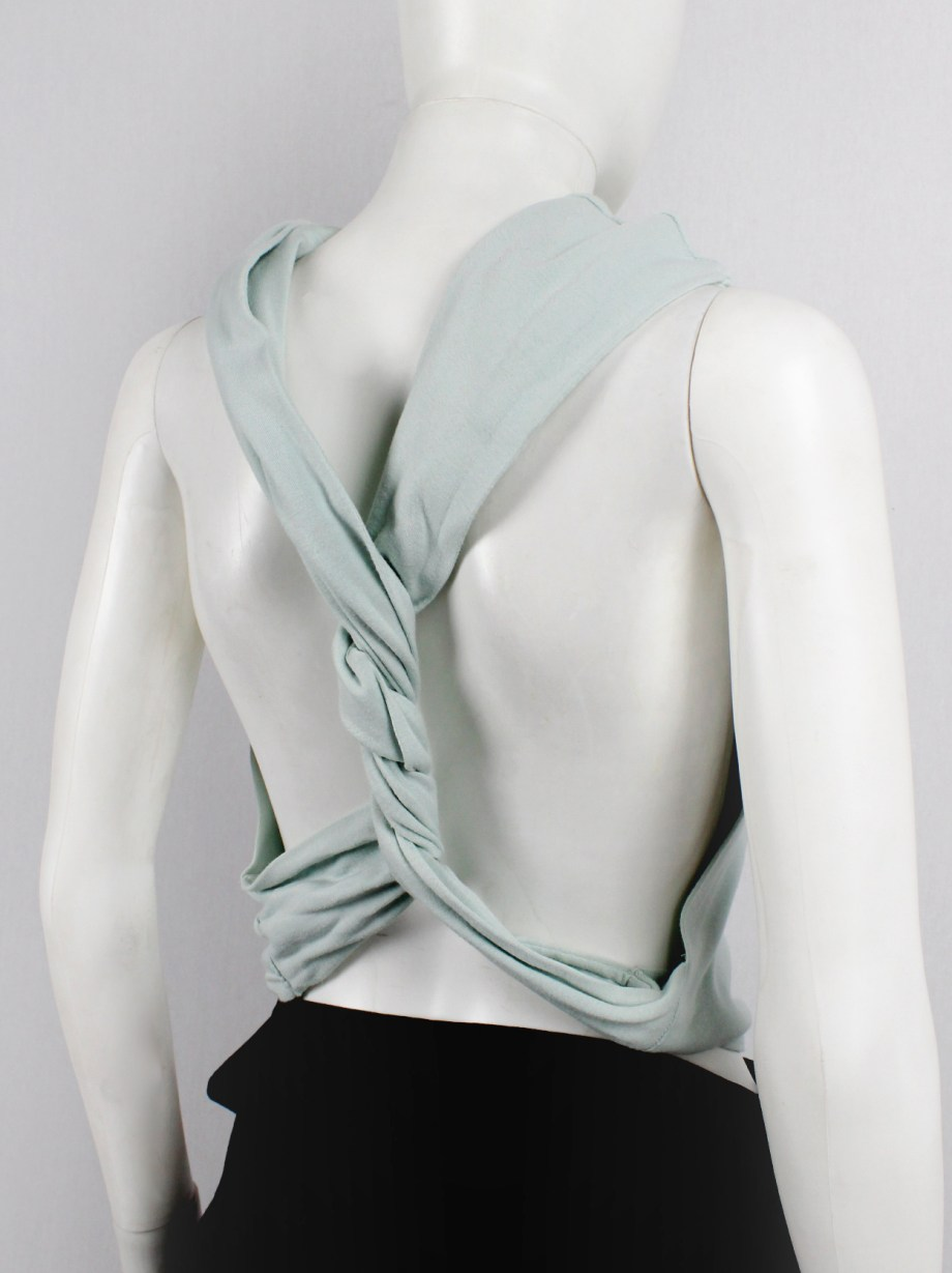 Maison Martin Margiela artisanal mint top made of a jumper with twisted sleeves — 2000/2004