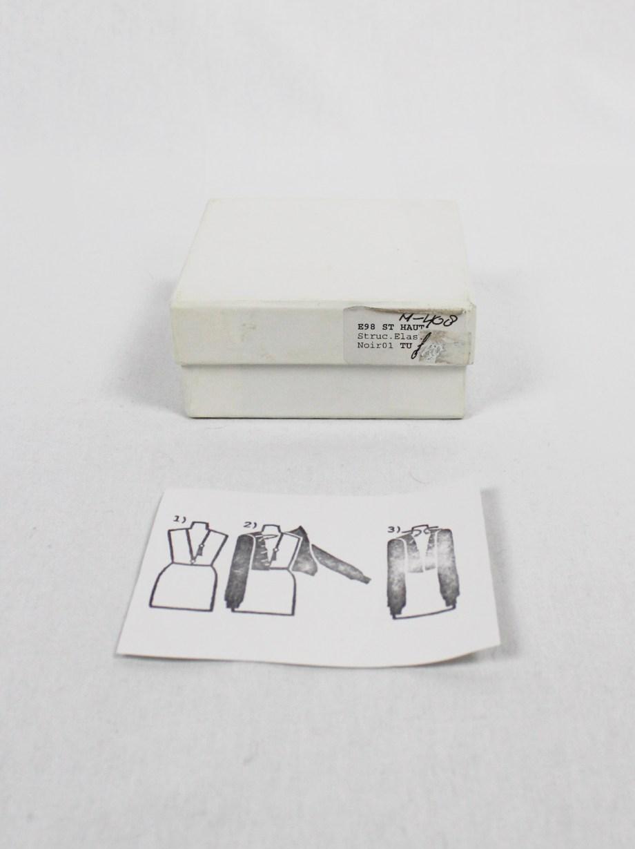 Maison Martin Margiela black elastic body harness with metal rings — spring 1998