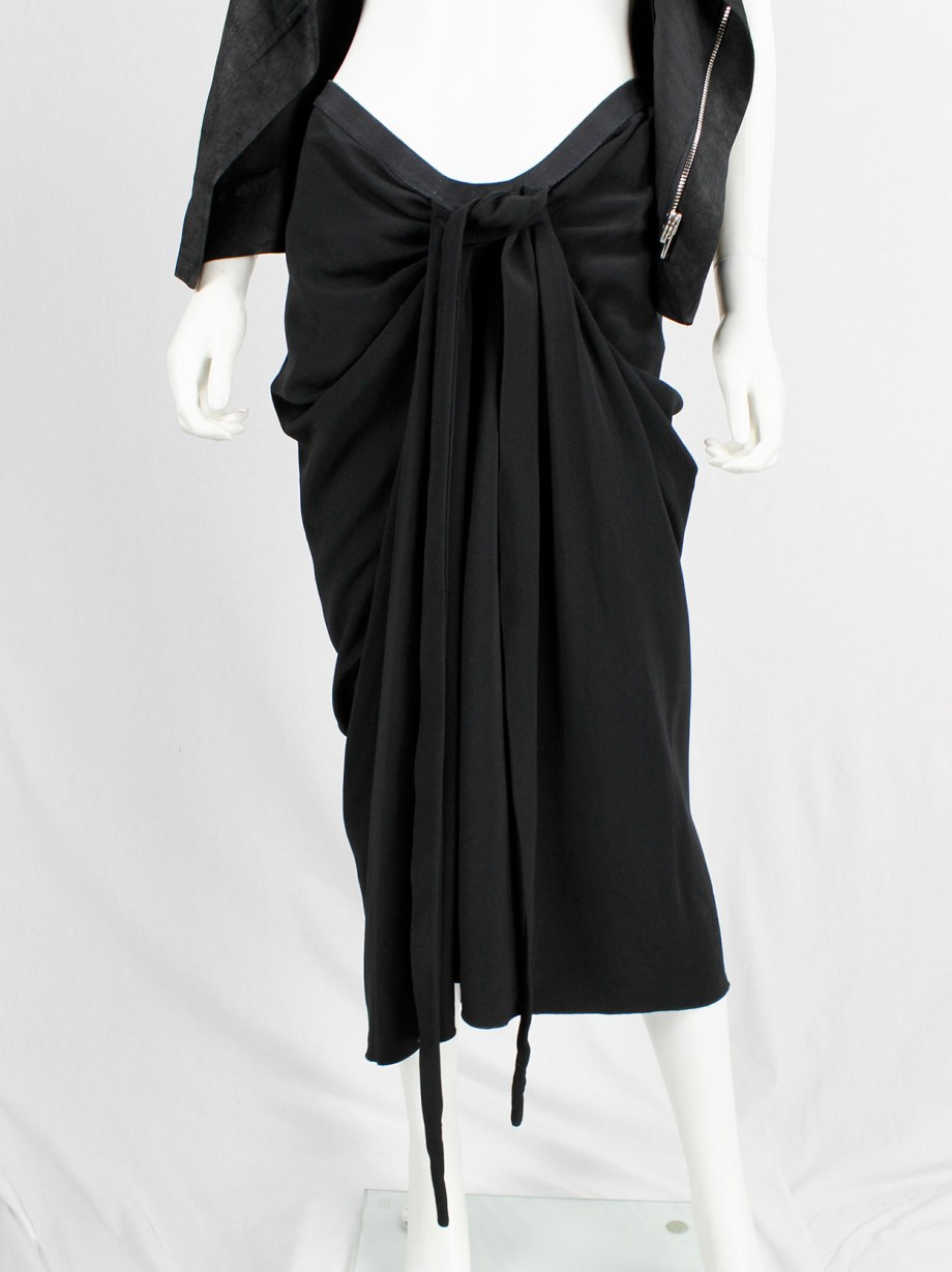 Rick Owens PLINTH black gathered skirt with drape and front ties — fall 2013