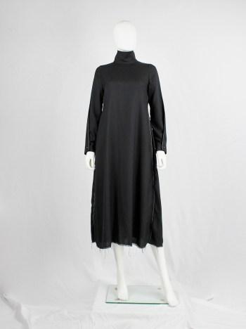 Y's Yohji Yamamoto black maxi turtleneck dress with white stitching along the sides