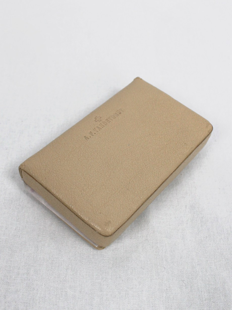 A.F. Vandevorst beige leather card holder with red stitches