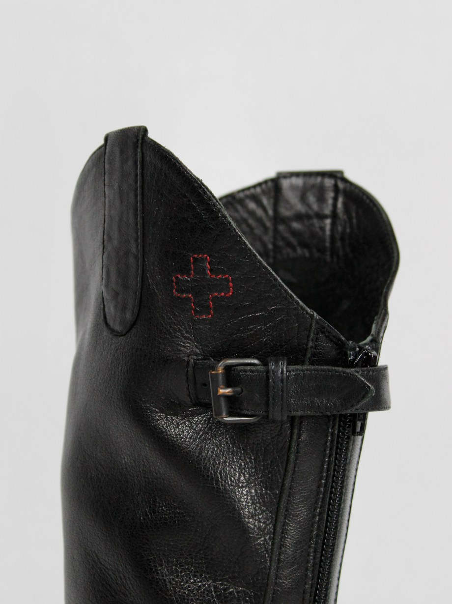 A.F. Vandevorst black leather riding boots with chaps — spring 2001