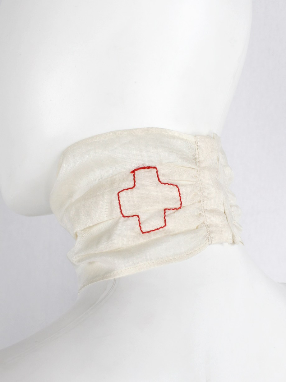 A.F. Vandevorst off-white sheer lingerie choker with embroidered red cross — spring 1999