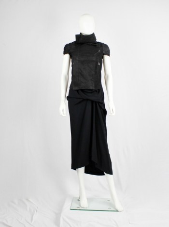 Rick Owens black blistered leather vest with silver pearls along the shoulders
