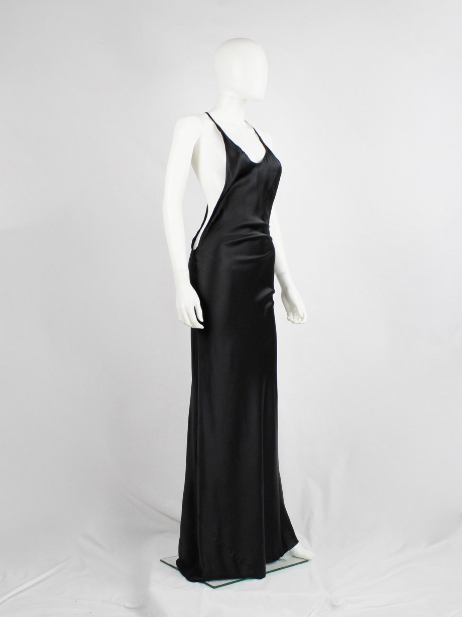 Ann Demeulemeester black backless maxi dress with fine back strap — spring 2006