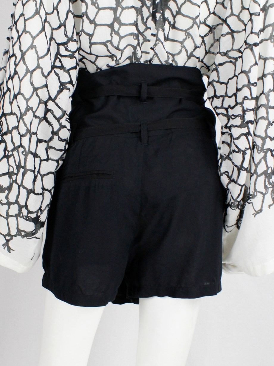 Ann Demeulemeester black front pleat shorts with double belt straps
