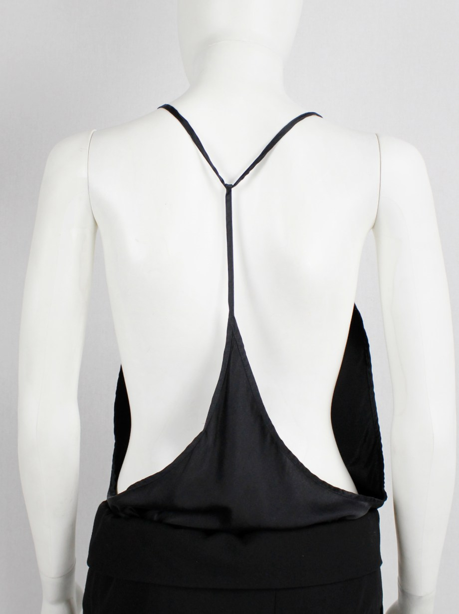 Ann Demeulemeester black silk backless top with fine back strap — spring 2006