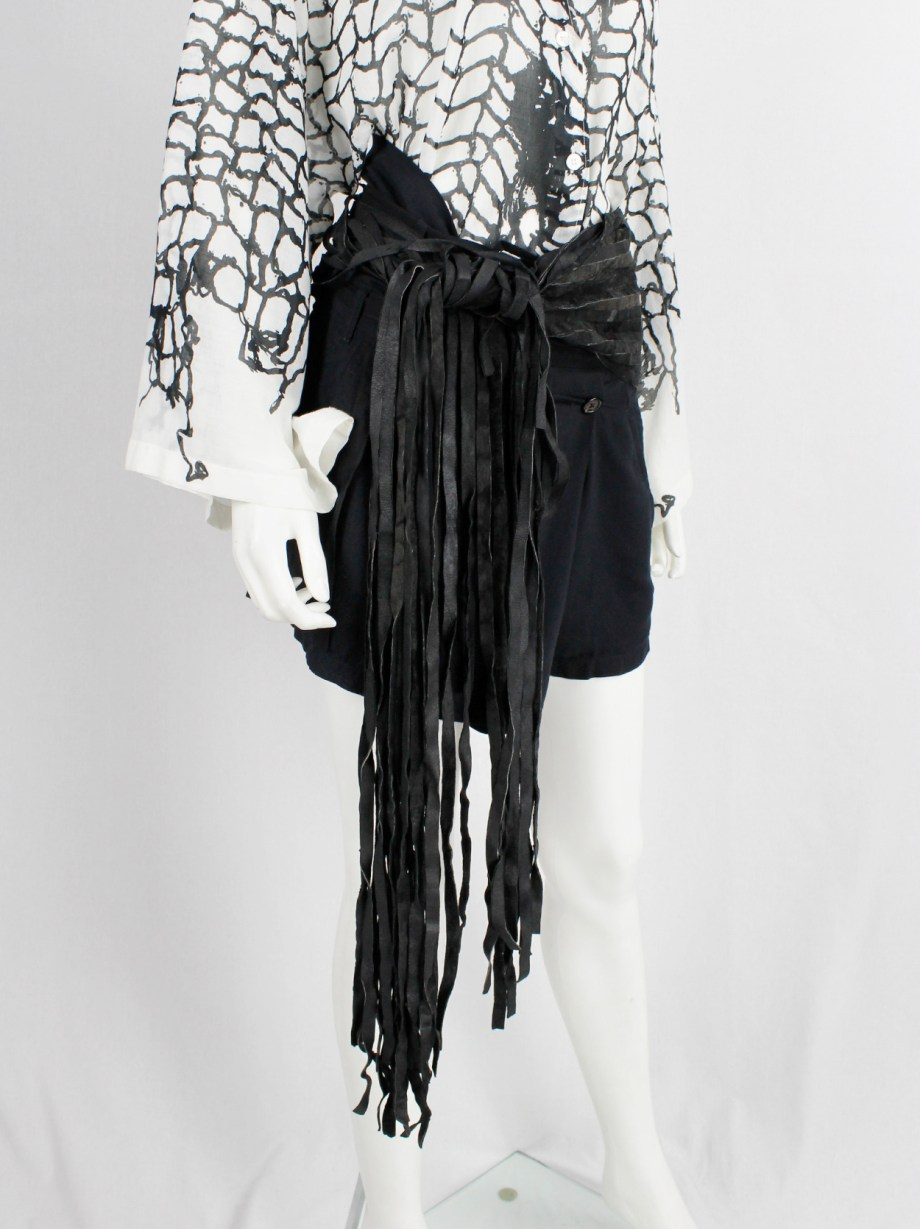 Ann Demeulemeester black wide leather belt with fringe ends made of 18 ribbons — fall 2002
