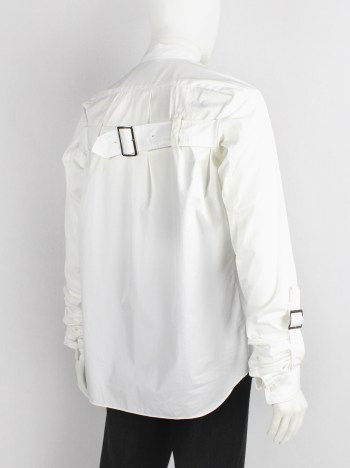 Comme des Garçons Shirt white shirt with belt straps across the back and at the gathered sleeves